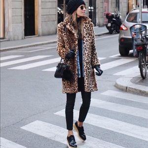 Zara Faux Fur Leopard Coat - Size S